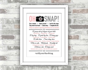 PRINTABLE Personalised Print Your Own 'Oh Snap' I spy wedding photo game decoration digital print file - hashtag pink grey black typography