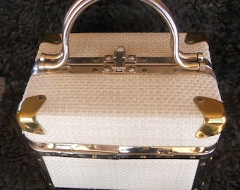 Vintage Delill, Rattan Trunk Purse with hinges and brass corners