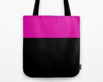 Pink and Slate Gray Canvas Tote Bag, Color block tote bag, 13 x 13 inch tote bag, Small Tote Bag, Lunch Bag
