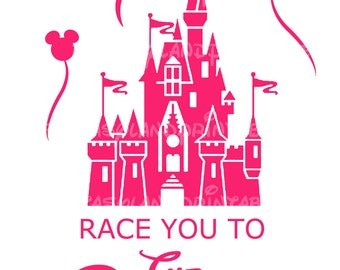 INSTANT DOWNLOAD Race you to the Castle Disney Marathon Run Marathon Disney Mouse Print at Home DIY Printable Iron Transfer Shirt Run Race