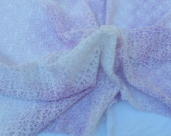 French Lace Bridal and Lingerie Fabric by the Yard - Lilac and  White   Nylon Spandex