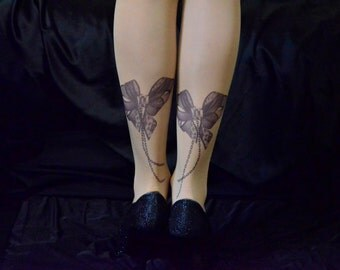 Tattoo Tights With Bows and Сhains Print