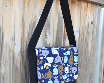Kids/Toddlers Messenger Bag Navy Blue with Whales