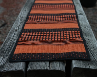 Quilted Orange and Black Striped Table Runner - Perfect for Halloween!