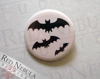 Three Bats Pinback Button, Magnet, or Keychain, Creepy Creatures, Black Bat Silhouettes, Bat Buttons, Bat Goth Button, Flying Bats Pin