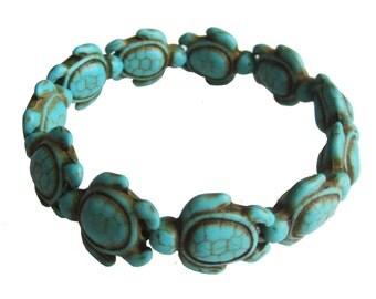 Turtle Bracelet - Turquoise Turtle Bracelet  -  Hawaiian Sea Turtle Bracelet - Handmade Design