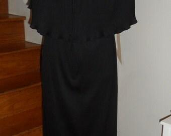vintage 2 piece wear 2 ways   joan leslie by kasper pleated gown black wear two ways   smalls  meds