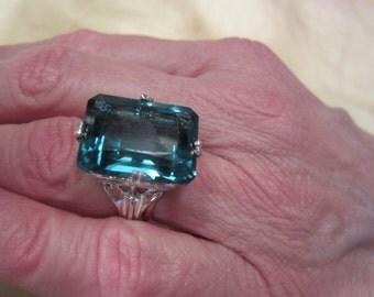 Large Aqua Blue Synthetic Quartz Silver Ring