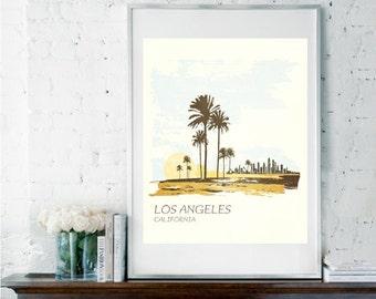 LA POSTER, Los Angeles Print, Travel Poster, Los Angeles Typography Poster, Retro Travel Poster, Graduation Gift, Housewarming Gift