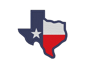 12 SIZES! Texas Shape Flag Embroidery Design