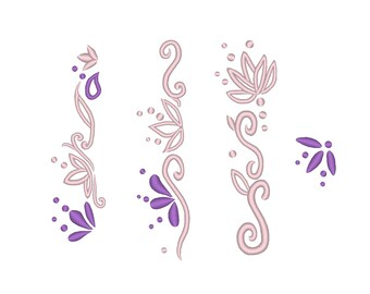 Floral Dress Edge Hem Designs Rapunzel Skirt Designs Embroidery Machine Designs