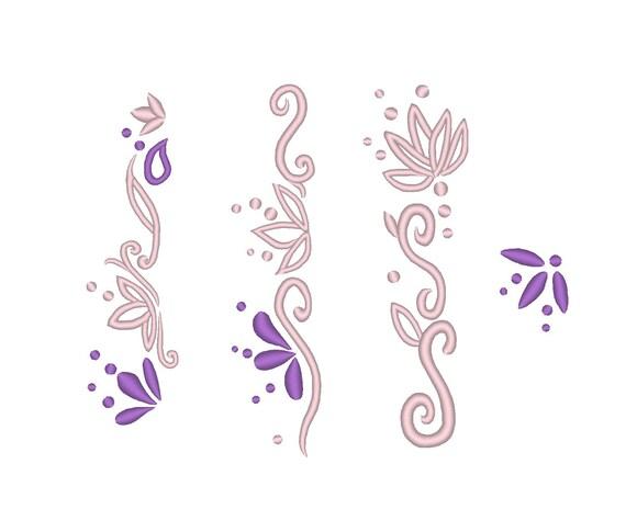 Floral Dress Edge Hem Designs Rapunzel Skirt Embroidery