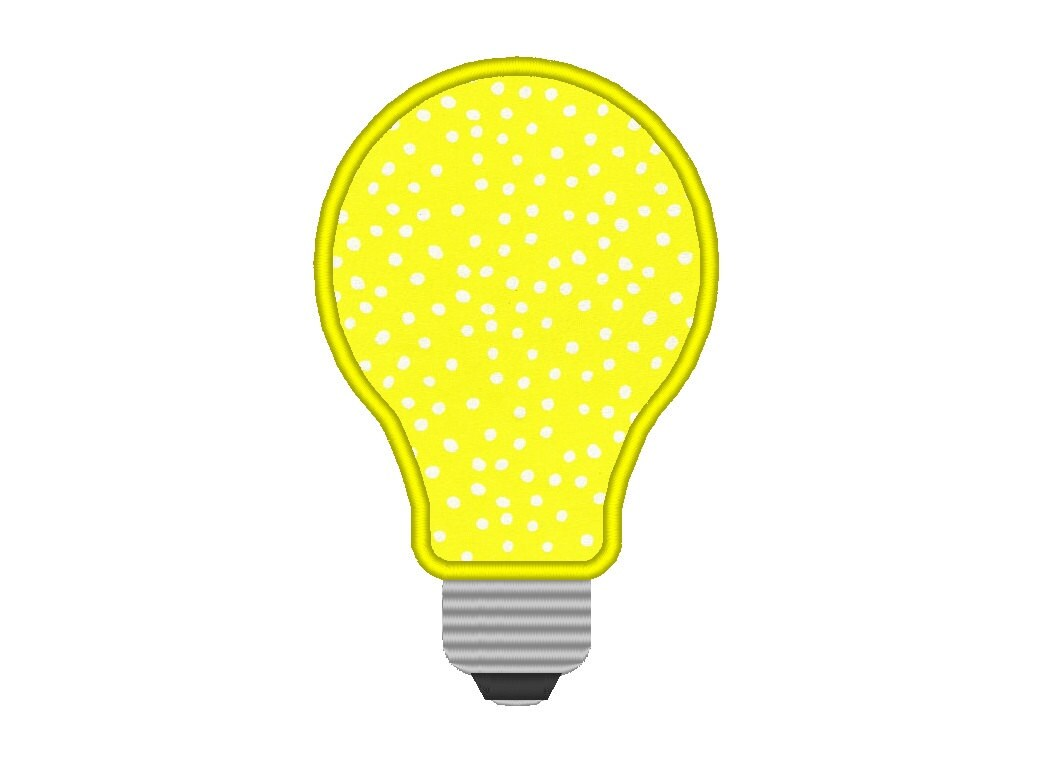 Lightbulb Idea: Light Bulb Idea Applique Embroidery Design