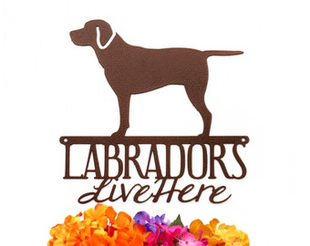 Labradors Live Here Metal Sign - Copper, 12x11.75, Black Lab, Outdoor Sign, Metal Wall Art, Wall Decor, Wall Art