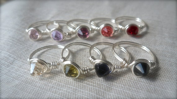 Swarovski Crystal Spike Stacking rings Silver Multiple color choices Artisan Nickel Free Hypoallergenic lightweight sexy modern point