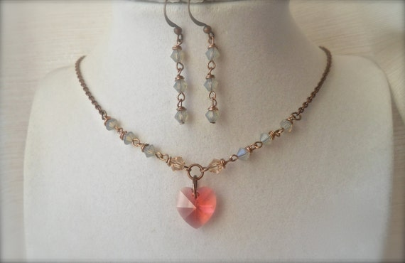 "Hearts Embrace Swarovski Crystal Jewelry set Necklace earrings Grey opal Coral pink Champagne Silk Copper Vintage Antiqued style 18"" wrapped"