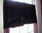 Amazing Black Magic Window Boho Curtain, Gypsy Doorway Valance, Bohemian Bedroom Decor, Hippy Chic Door, Pink Purple Sparkle Lace Fringe