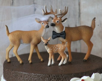 Deer Family Wedding Cake Topper - Family Cake Topper - Mr & Mrs Deer - Bride and Groom - Rustic Country Chic Wedding