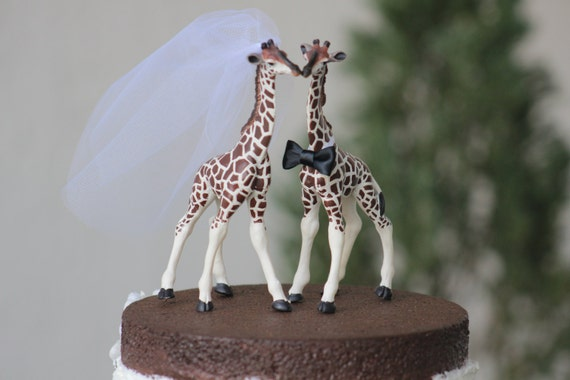 Giraffe Wedding Cake Topper Bride And Groom Rustic