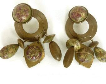 Brass Dangle Earrings, Geometric Design, Pierced
