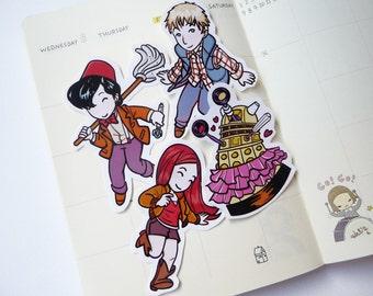 Doctor Who - Eleven, Rory e Amy - stickers chibi, kawaii, fan art