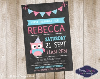 GIRL BIRTHDAY INVITATION, Printable Birthday Invitation, Party Owl Invitation, Owl Party Invitation, Chalkboard Invitation, Chalk Owl Invite