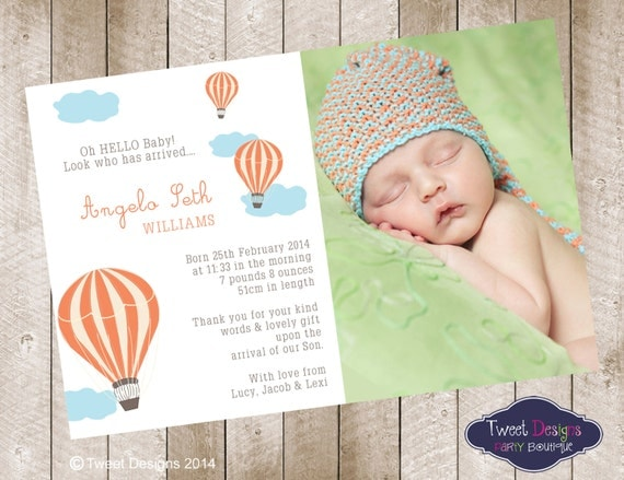 Baby Boy Gift Thank You Cards : Birth announcement printable baby thank you card boy