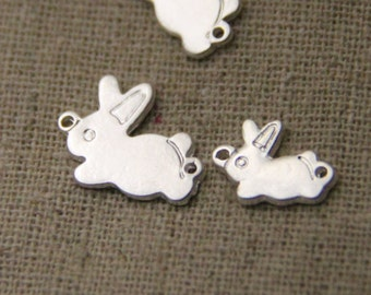 12  pcs  of two loop brass tinny bunny charm connector-8x10mm-1124-silver
