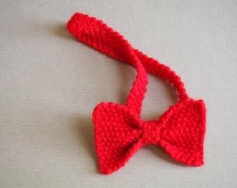 """Headband: Red Knitted Bow Headband/Bow Tie/Hair Accessory (16""""-24"""")"""