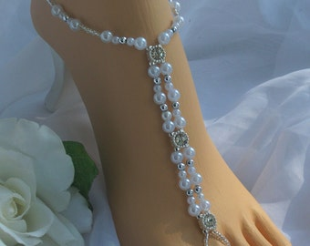 Wedding Barefoot Sandals - Bridal Foot Jewelry Pearl and Silver Rhinestone Sandal