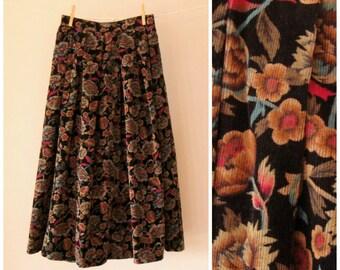 Boho Corduroy Midi Skirt. 70's Fall Florals Skirt. Brown. A-Line. Pleated. Hippie. Autumn. Small 4