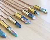 Rainbow Titanium Crystal Point Bullet Pendant