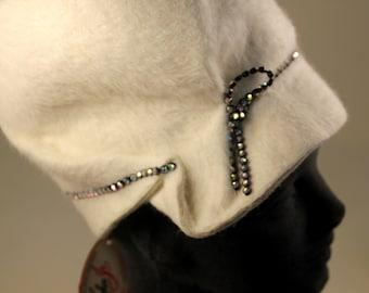 Vintage Cream Wool Angora Designer Cloche Hat with Rhinestones - Mr. John Hat - with Original Hangtag!