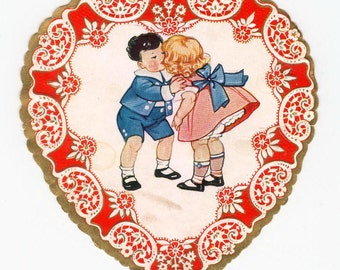 Vintage Kids Kissing Heart-Shaped Die-Cut Valentine's Day Greeting Card 1930s