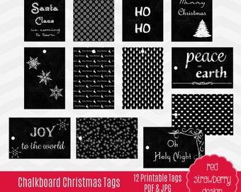 75% OFF Sale - Printable Chalkboard Christmas Tags - 12 Tags -  Instant Download - PDF & JPG (PR101)