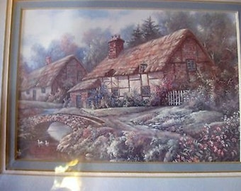 Vintage Interior Home Framed Picture of Country Cottages 11 x 13 CL24-7