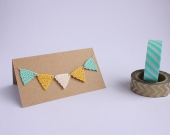 Crochet Bunting Necklace - Mint and Mustard