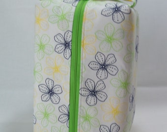 SALE Navy, Yellow, and Lime Flowers on White - Large Box Tote knitting / crochet / spinning project bag