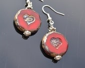 Red heart glass earrings