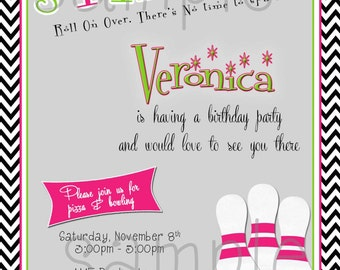 DIY Printable Teen Bowling Birthday  Invitation