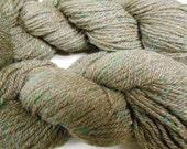 brown DK CVM wool llama yarn tweed green silk