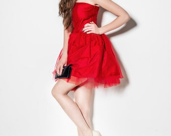 Prom dress, new years eve dress, silk dress, party dress, red dress, red gown, mini dress, tulle dress, short length, evening dres