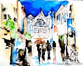 Ireland Love Romance Dublin Cityscape Print from Original Watercolor Painting - Watercolor Travel Illustration by Lana Moes
