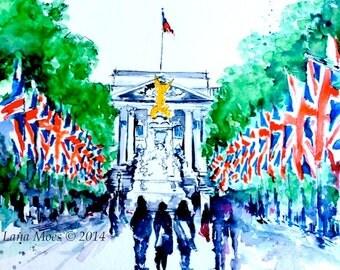 London Love Original Watercolor Painting - Lana Moes Art - London Cityscape Illustration - Wanderlust London