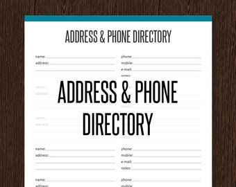phonebook template - missed call log printable pdf instant download