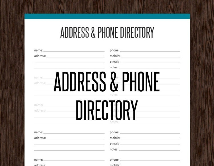 address  u0026 phone directory fillable printable by organizelife