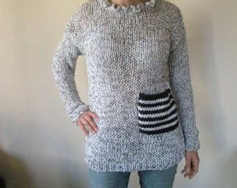 Grey hand knitted blouse