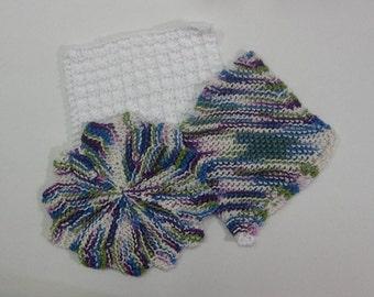 Fruit Punch Hand Knit Wash Cloth Set