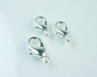 12 mm Silver Plated Claw Clasp -  15 Silver Plated Lobster Clasp - 12 mm Trigger Clasp - Jewelry Supplies SUP 023