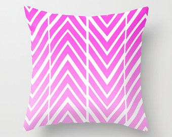 Pink Arrow Pillow -  Pillow Cover Includes Pillow Insert - Pink and White Arrow Pillow - Sofa Pillow Cover- Decorative Pillow- Made to Order